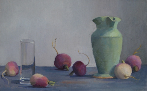 Green Vase with Glass and Turnips